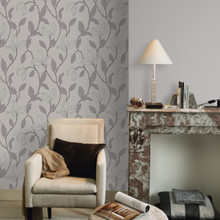 Taupe and Silver Leaf Wallpaper in Room