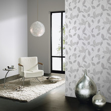 Silver and White Leaf Wallpaper in Room