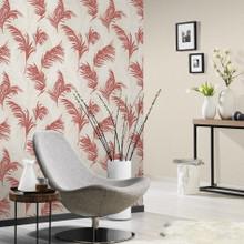 Red Leaf on Beige Wallpaper in Room