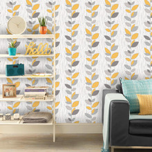 Grey and Yellow Leaf Stem Wallpaper in Room