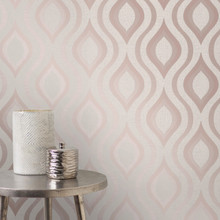 Rose Gold Geometric Retro Wallpaper in Room