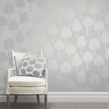 Silver and Grey Trees Wallpaper in Room
