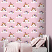 Rainbow Pink Unicorns Wallpaper in Girl's Bedroom