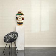 Versace Light Beige Brick  Wallpaper in Room
