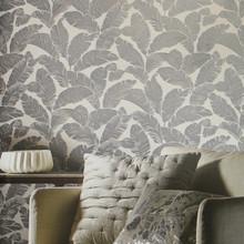 Blue Grey Flock Leaf Wallpaper in Room