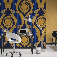 Versace Gold and Blue Damask Striped Wallpaper