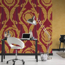Versace Gold and Red Damask Striped Wallpaper