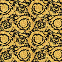 Versace Black and Gold Baroque Floral Wallpaper
