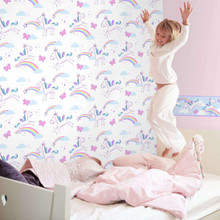 Pink and Purple Unicorns on White Wallpaper