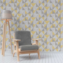 Grey and Yellow Triangles Wallpaper in Room