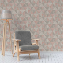 Grey and Pink Triangles Wallpaper in Room