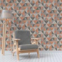 Grey andOrange Triangles Wallpaper in Room
