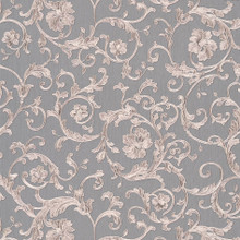Versace Silver Barocco Trail on Grey Wallpaper