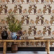 Red / Multi African Elephants Wallpaper in Room