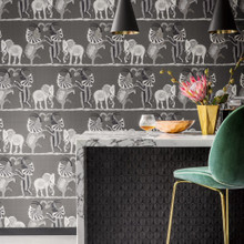 Black White and Grey Elephants Wallpaper in Room