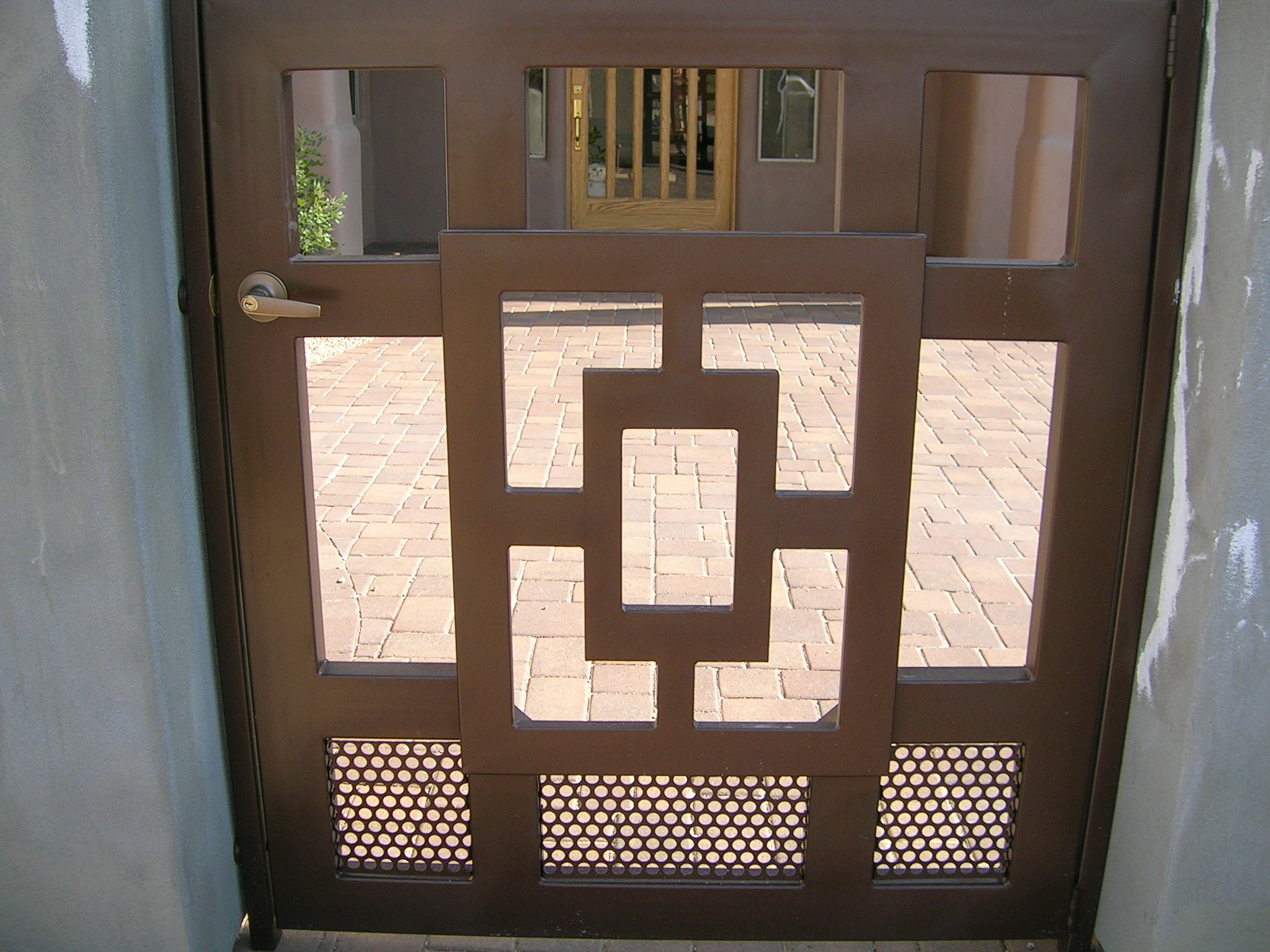 Wrought iron privacy gates -  This Gate Has A Nice Privacy Featuring Wood Topped With Scroll Work If You Have A Space To Close Off This Is A Nice Wrought Iron Wood Scroll Gate To