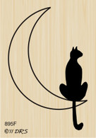 Silhouette Cat on Moon - 895F