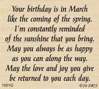 March Birthday Greeting - 1021G