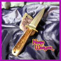 Athame of Elk Horn, Brass & Steel Ancient Rune Magick Ritual Tool