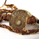 """Cordelia"" Ammonite & Brown Leather Wrap Bracelet by Nina Nguyen Designs"