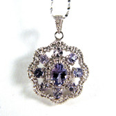 Tanzanite Necklace, Sterling Silver - JNec131