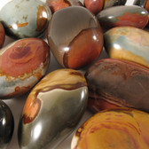 ECONOMY Polychrome Jasper Pebble, 1 (one) piece, Palm Stone, Medium - Madagascar STK004