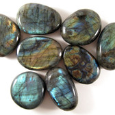ECONOMY Labradorite Pebble, 1 (one) piece, Palm Stone, Medium- Madagascar STK003