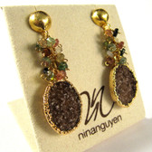 """Oleander"" Brown Druzy & Tourmaline Earrings by Nina Nguyen Designs"