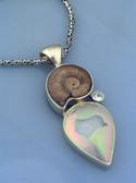 Ammonite, White Topaz & Druze Quartz Pendant