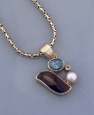 Obsidian, Pearl, and Blue and White Topaz Pendant - Regularly $78.00