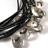 Shark Tooth Necklace Clear w/ Black Braided Cord 1 (one) piece