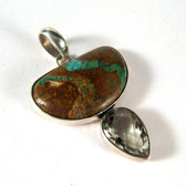 Turquoise and Green Amethyst Pendant