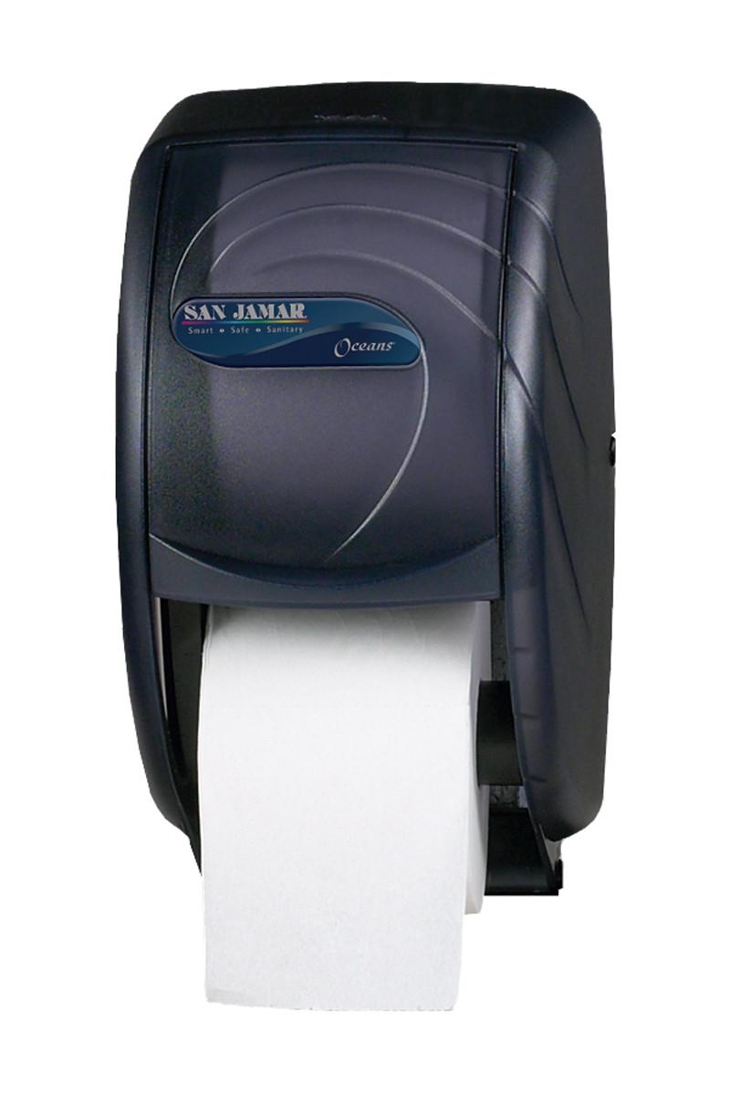 San Jamar Oceans Duett Toilet Tissue Dispenser Black