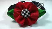 Dog Collar-Black gingham Flower