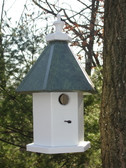 Hanging loft birdhouse-patina roof