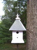 Hanging manor birdhouse-patina roof