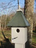 Post birdhouse-patina roof