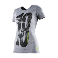 The18's WomenÌ´Ì_ÌÎ̴̝åÈs The18 Large Logo T-Shirt in Grey.