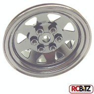 6 Lug Wagon 1.9 scale Steel Stamped Beadlock Wheels BLACK Pin Mount realistic[(1) One WHEEL]