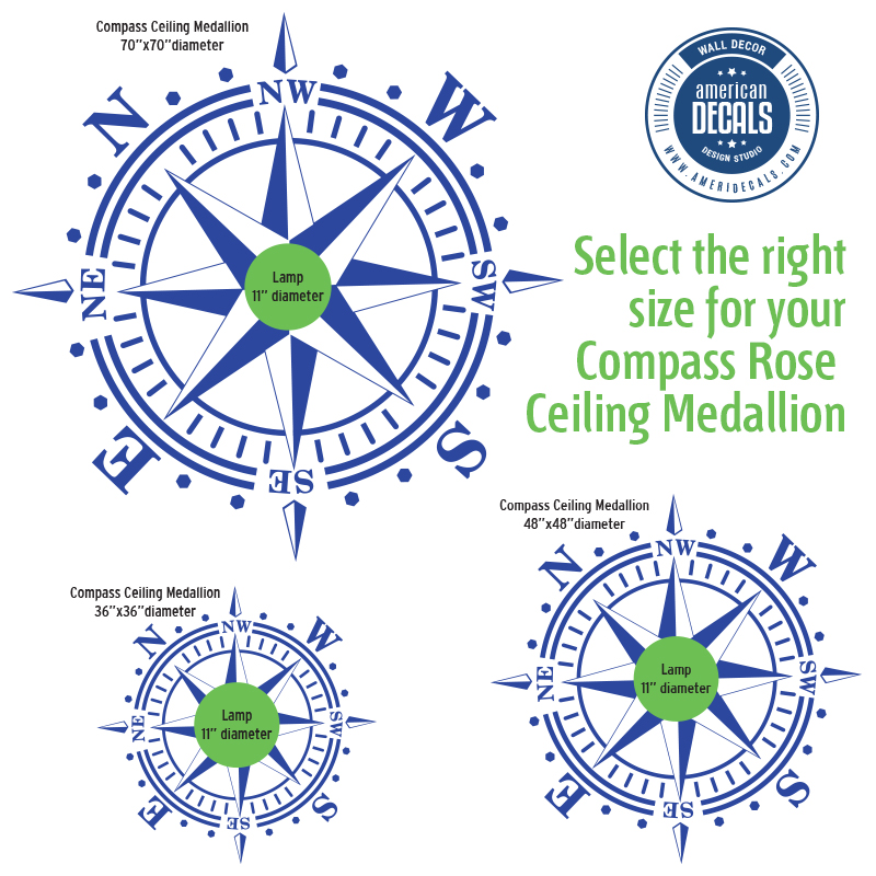 ameridecals.com How to select the right size compass rose ceiling medallion using an 11 inches diamter lamp