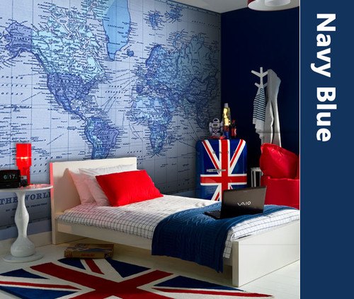 """Vintage 1891 Atlas World Map """"The World"""" Mural printed in your choice of Wall Vinyl Decal or Fabric Wall Decal. Blue tinted Colors"""