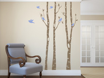 3 River Birch Trees Wall Decal Forest