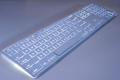 Matias White Wireless Aluminium Keyboard, Mac/Win, Backlit (FK418BTLW)