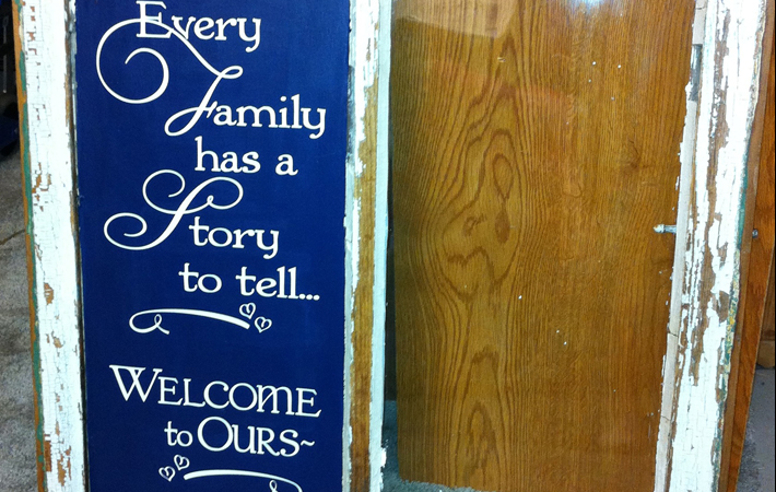 Family Wall Sticker on Vintage Window Glass