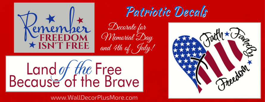 Patriotic Holiday Decals Memorial Day 4th of July
