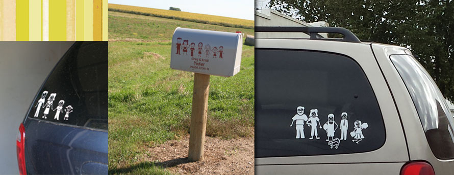 Stick People Decal Family Van or Mailbox