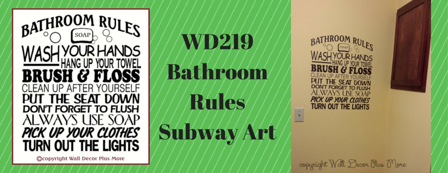 Bathroom Rules Subway Art Wall Decal Vinyl Sticker