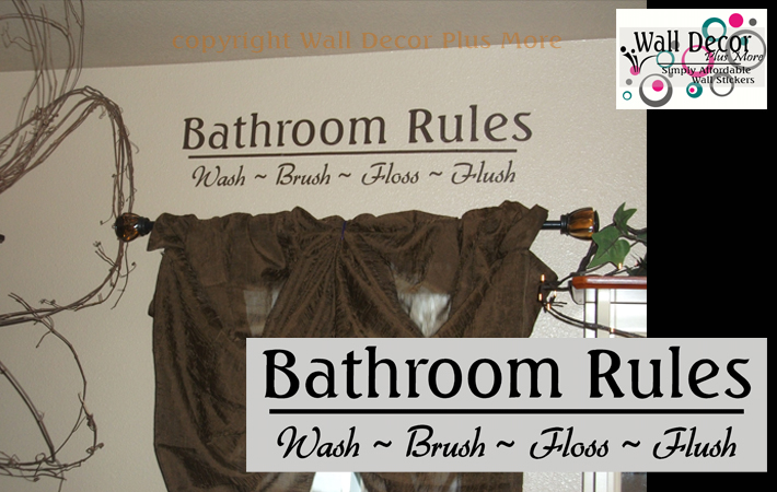 Bathroom Rules Wall Decal Sticker