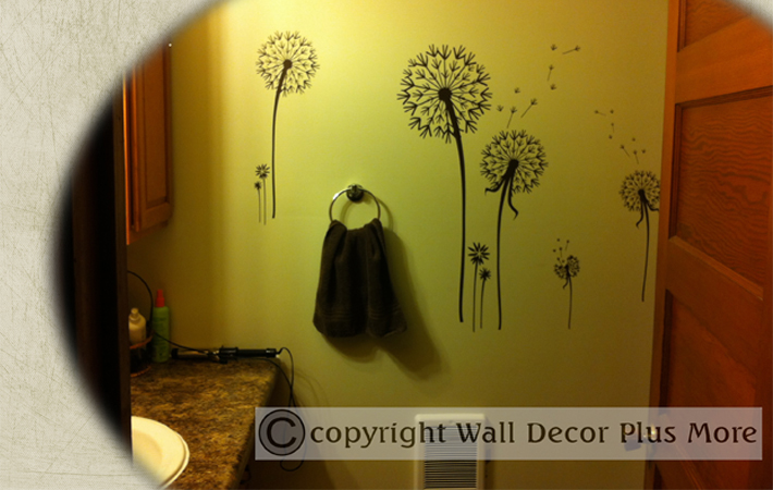 Tree & Floral Wall Sticker Decal Bathroom Dandelions