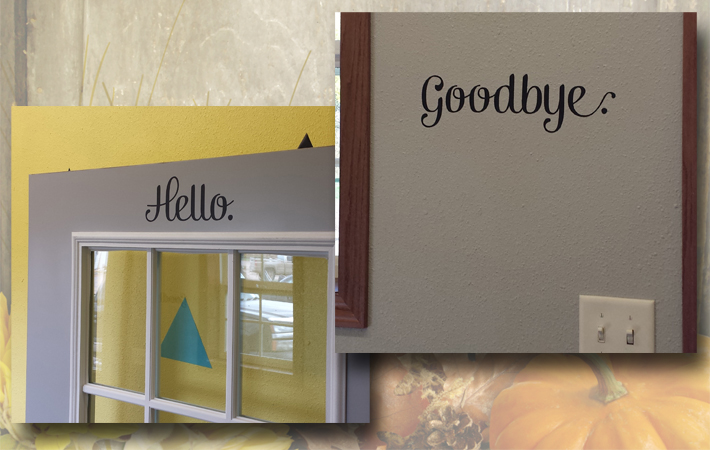 Hello and Goodbye Cute Decals for the Door
